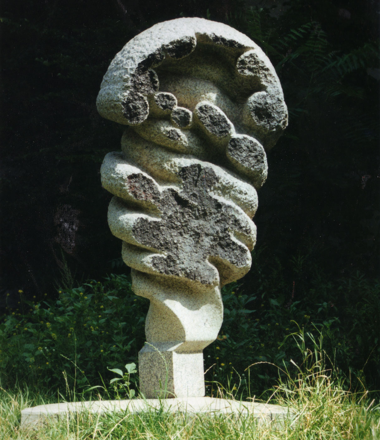 WHITE GRANITE,  © 1990, granite, concrete base, 210 x 90 x 90 cm