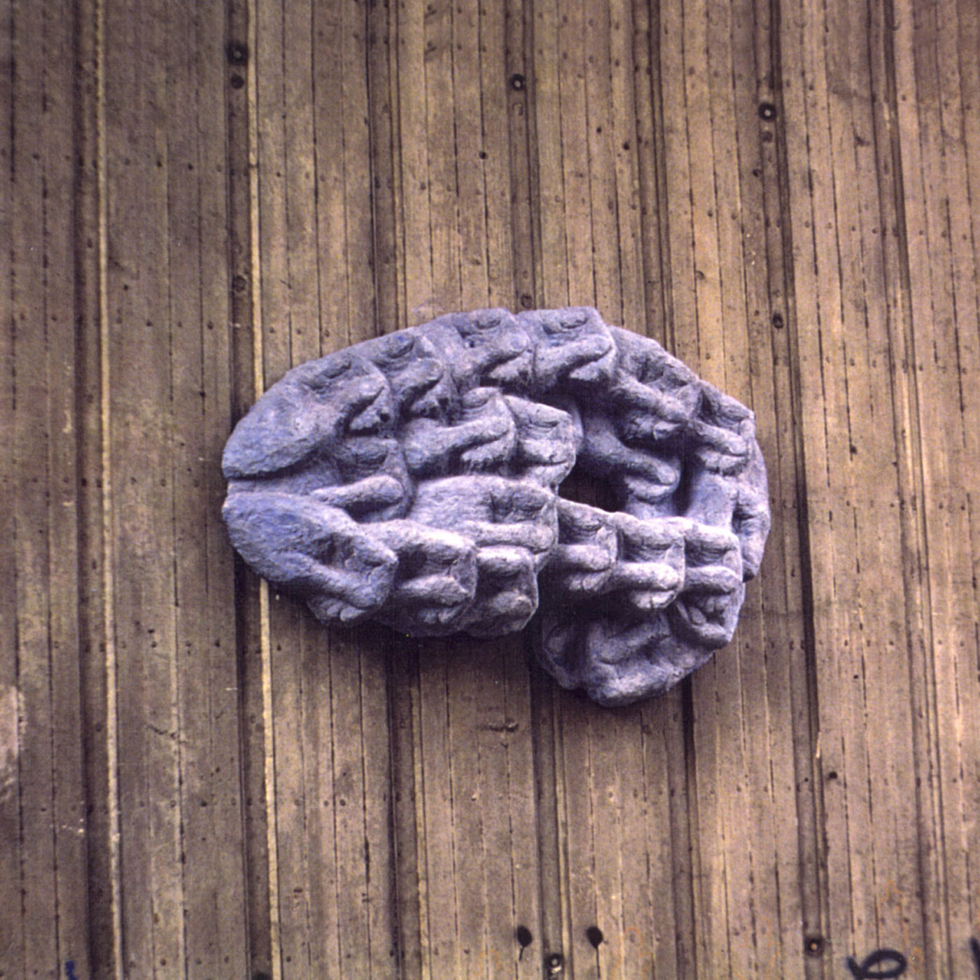 BLUE HAND,  © 1991,  concrete, pigments, modeled in clay, cast in pigmented concrete, 200 x 120 x 25 cm