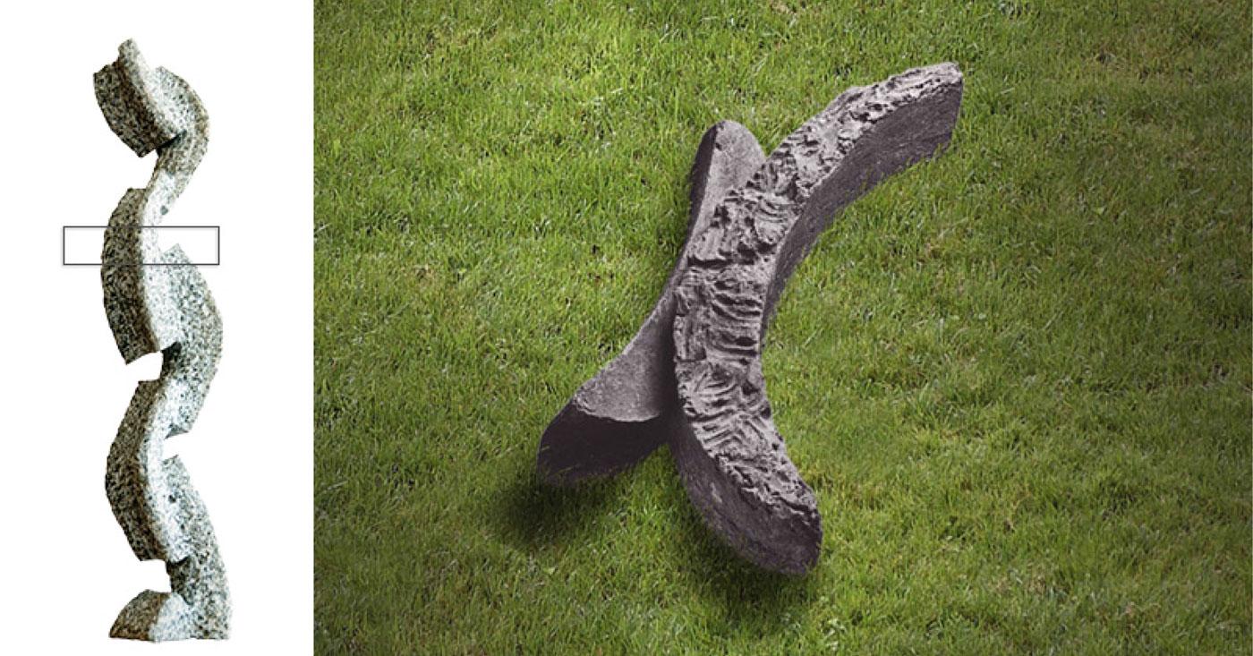 GREY CONCRETE & STONE,  © 1993, stone and concrete STONE: gray granite, 57 x 10 x 9 cm,  CONCRETE: concrete, pigments, molded in clay, cast in pigmented concrete, 24 x 110 x 70 cm