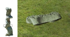 GREEN CONCRETE & STONE,  © 1993, stone and concrete STONE: green sandstone, 33 x 13 x 13 cm,  CONCRETE: concrete, pigments, modeled in clay, cast in pigmented concrete, 24 x 130 x 48 cm