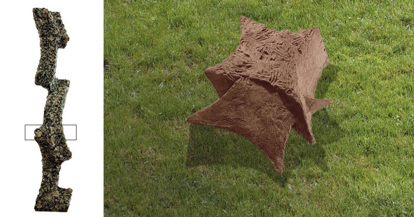 BROWN CONCRETE & STONE,  © 1993, stone and concrete STONE: brown granite, 61 x 14 x 13 cm,  CONCRETE: concrete, pigments, molded in clay, cast in pigmented concrete, 25 x 140 x 98 cm