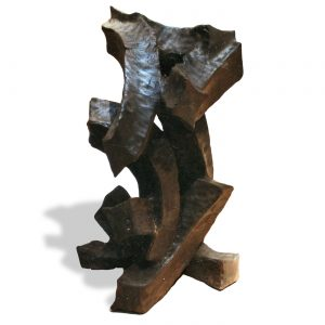 PUSH,  © 1994, burned, brushed and fixed chestnut wood, made of one tree trunk, 65 x 50 x 50 cm