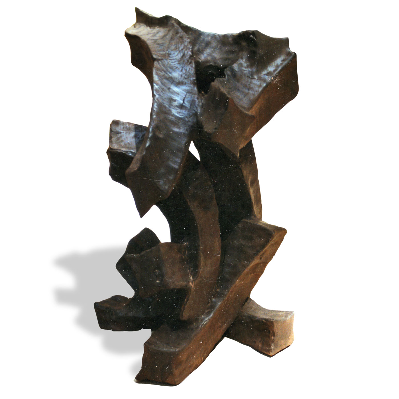 PULL,  © 1994, burned, brushed and fixed chestnut wood, made of one tree trunk, 65 x 50 x 50 cm