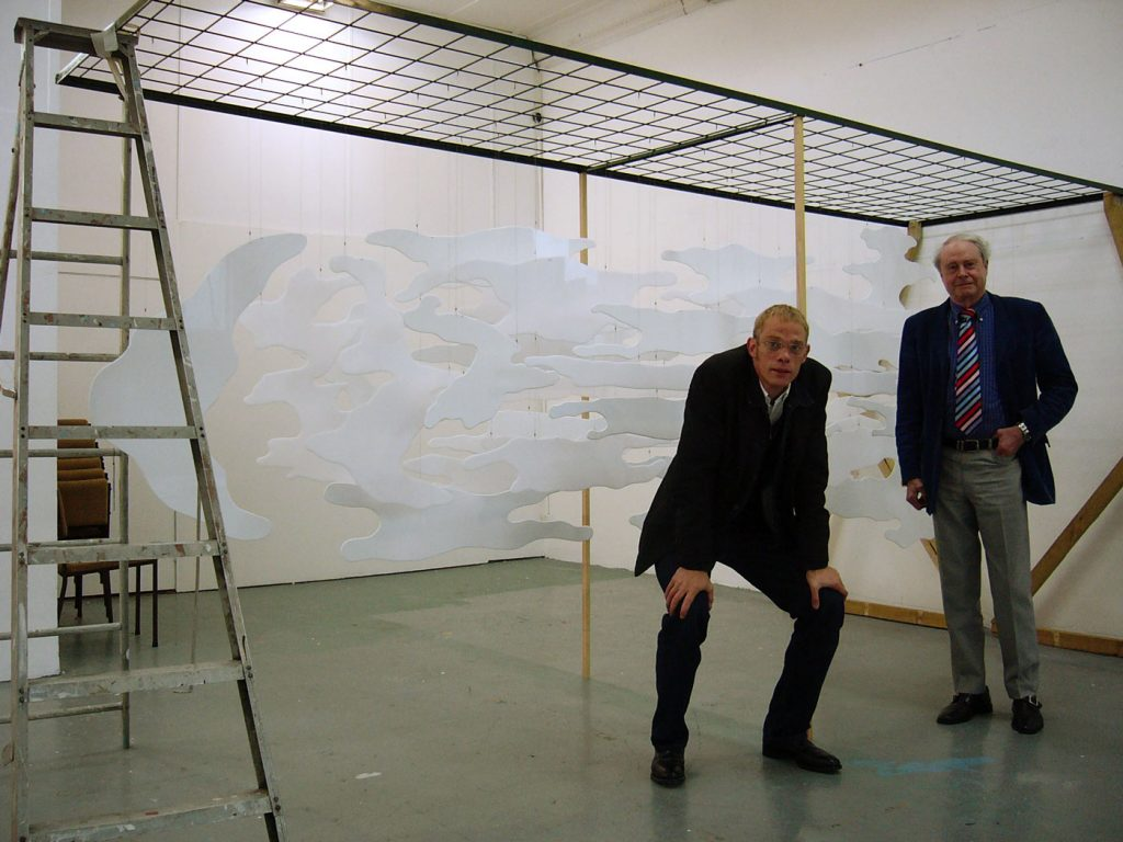 GRAF ZEPPELIN ON THE LONG WHITE CLOUD,  © 2004, acrylic perspex, steel rope, steel rack, 500 x 220 x 140 cm,  made for the sculpture park of James Wallace Art Trust in New Zealand,  in the studio with Sir James Wallace