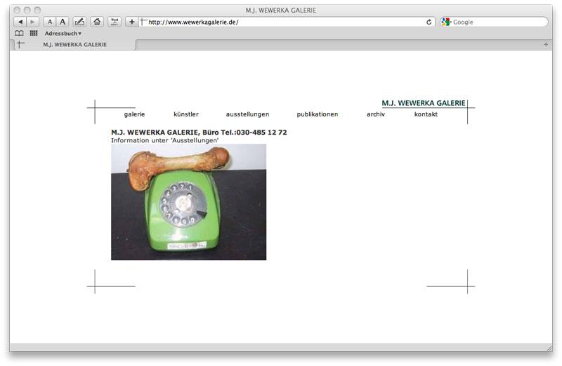 WEBSITE with CMS (MySQL, Php) Wewerka Galerie concept and design: Stephan Hüsch © 2005 scripting: Heike Lücke by order Wewerka Galerie