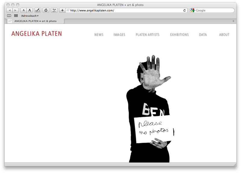 WEBSITE  Angelika Platen - art & photo,  concept and design: Stephan Hüsch © 2009,  scripting: Stephan Hüsch,  by order Angelika Platen