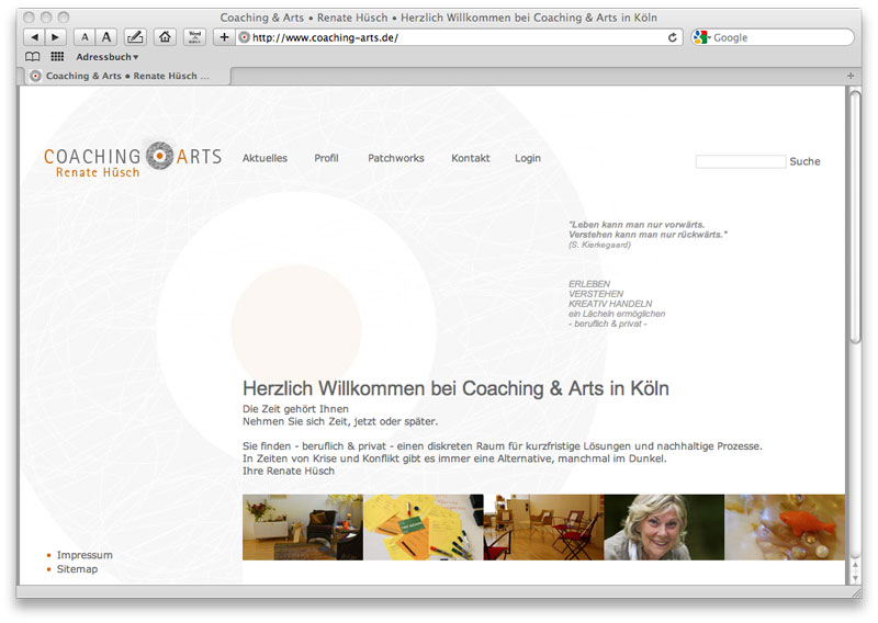 WEBSITE with CMS,  Coaching & Arts,  concept and design: Stephan Hüsch © 2010,  scripting: Jerome Johnson,  by order Coaching & Arts
