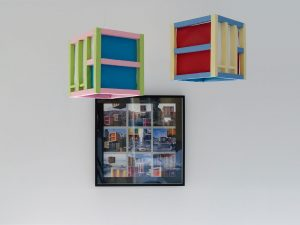 BRUTAL ARCHITECTURE - THE PARK HILL FLAT MOBILÉ,  © 2011 in cooperation with Águeda Simó,  paper mobilé and photo collage on metalic photopaper,  mobilé sculpture: each 25 x 25 x 25 cm,  photo collage: 50 x 50 cm