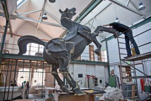 HORSE I, © 2013, styrofoam, lined with paper, steel framework, acrylic paint, 490 x 400 x 160 cm incl. base