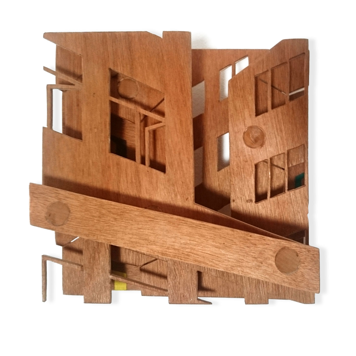TINY VASISTAS I, © 2015,  oiled plywood and acrylic paint, 25 x 25 x 7 cm
