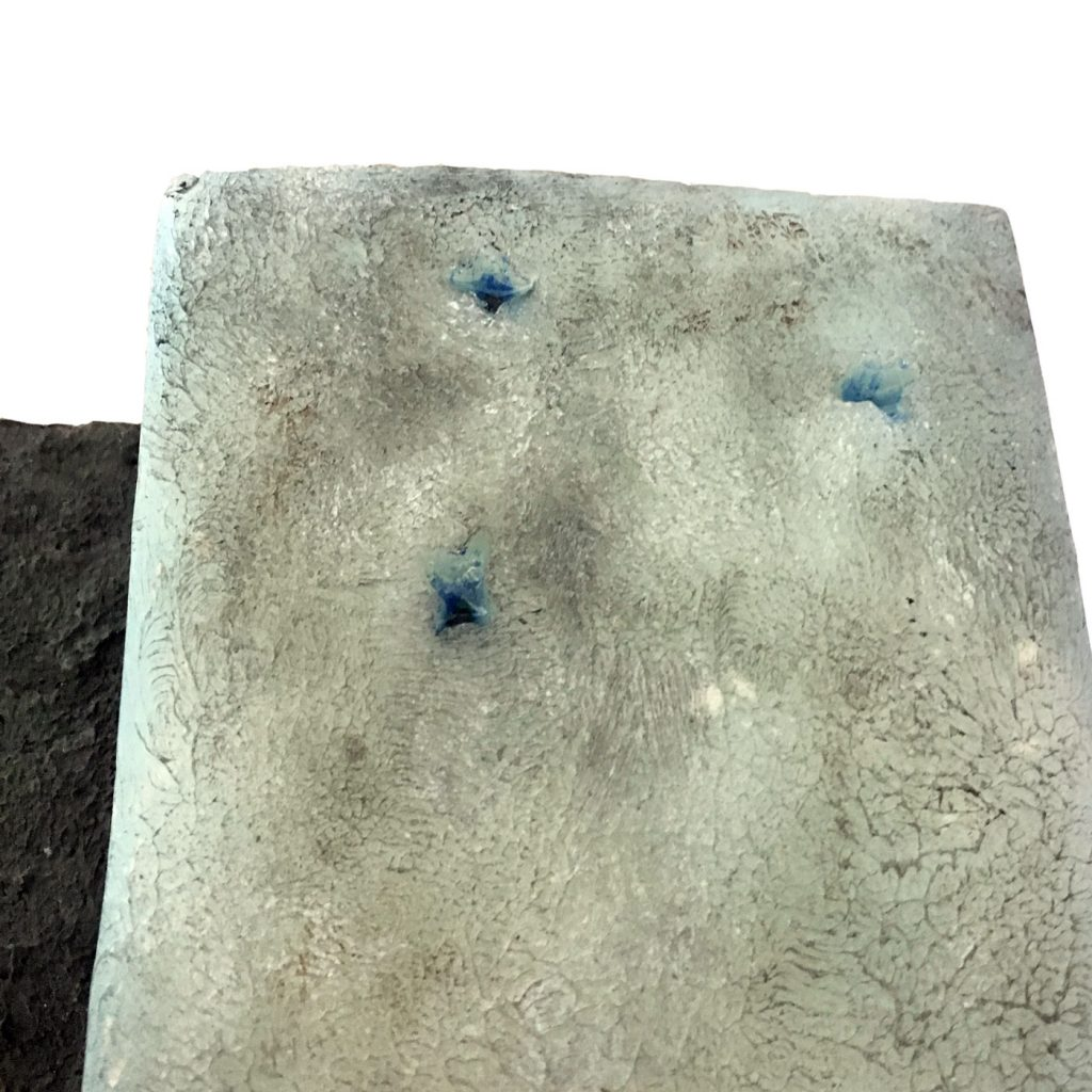 ALETSCH GLACIER, CRYOKONITE HOLES,  © 2016, acrylic and epoxy resin cast, acrylic paint, molded in wax, 40 x 40 x 20 cm