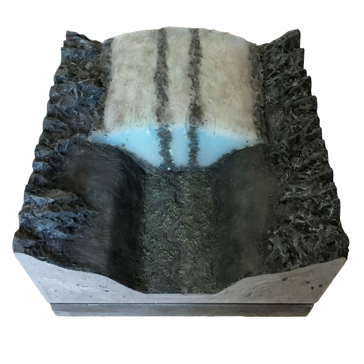 ALETSCH GLACIER U-SHAPED VALLEY, © 2016, acrylic and epoxy resin cast, acrylic paint, acrylic paint, molded in wax, 40 x 40 x 20 cm