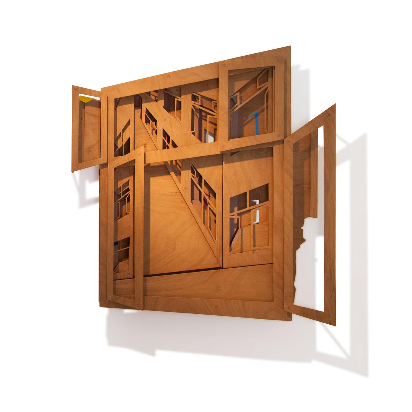 VASISTAS II, © 2008 - 2015,  oiled plywood and acrylic paint, 160 x 150 x 25 cm