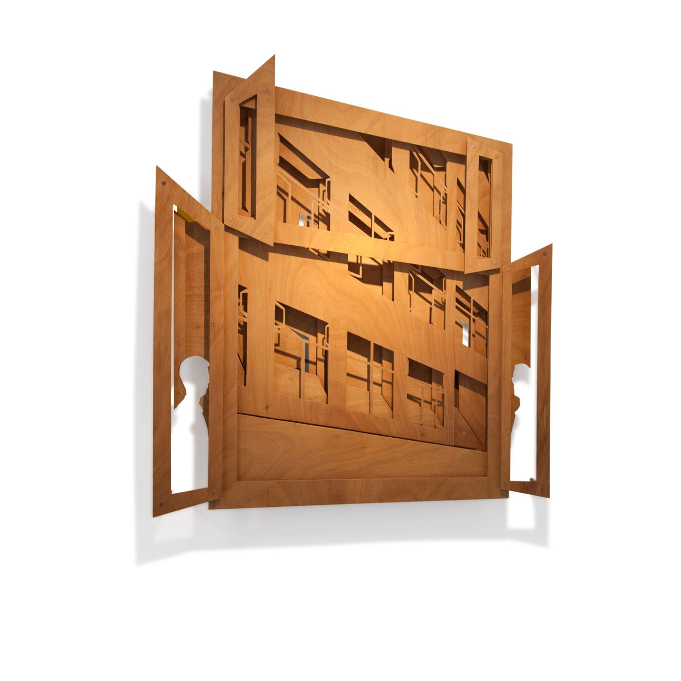 VASISTAS III, © 2008 - 2015,  oiled plywood and acrylic paint, 160 x 150 x 25 cm