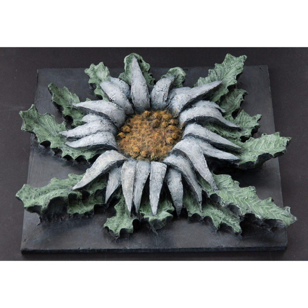 CARLINA ACAULIS,  © 2014, acrylic cast, molded in wax, 40 x 40 x 8 cm