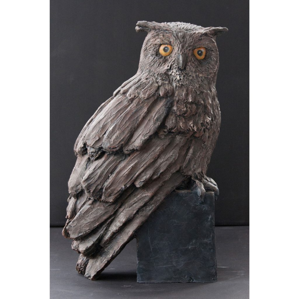 EAGLE OWL,  © 2014, acrylic cast, molded in wax, 25 x 40 x 15 cm