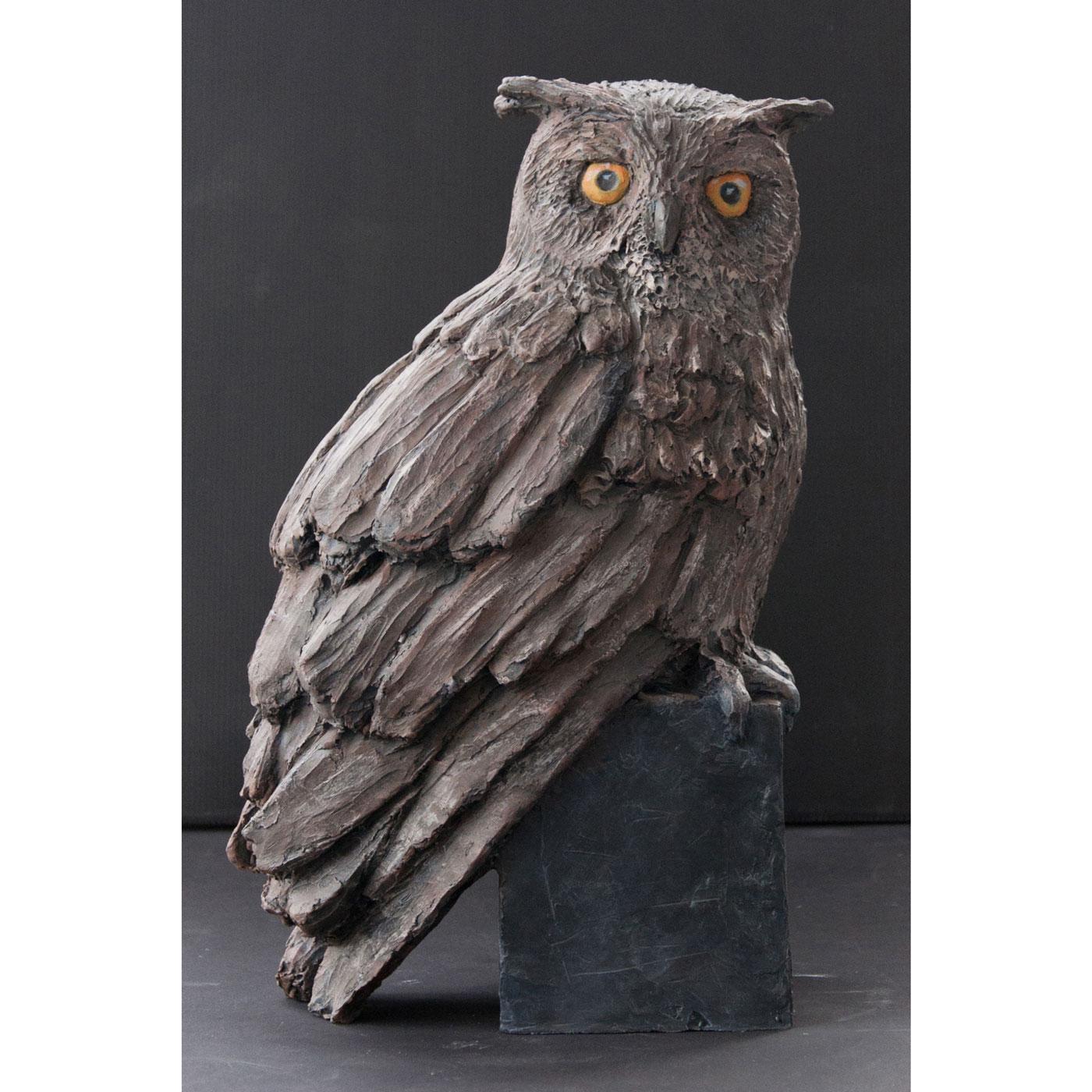 EAGLE OWL,  © 2014, acrylic cast, molded in wax, 25 x 40 x 15 cm
