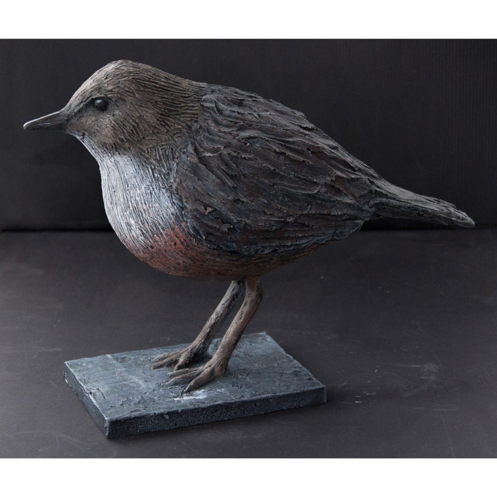 WHITE THROATED DIPPER,  © 2014, acrylic cast, molded in wax, 35 x 20 x 15 cm