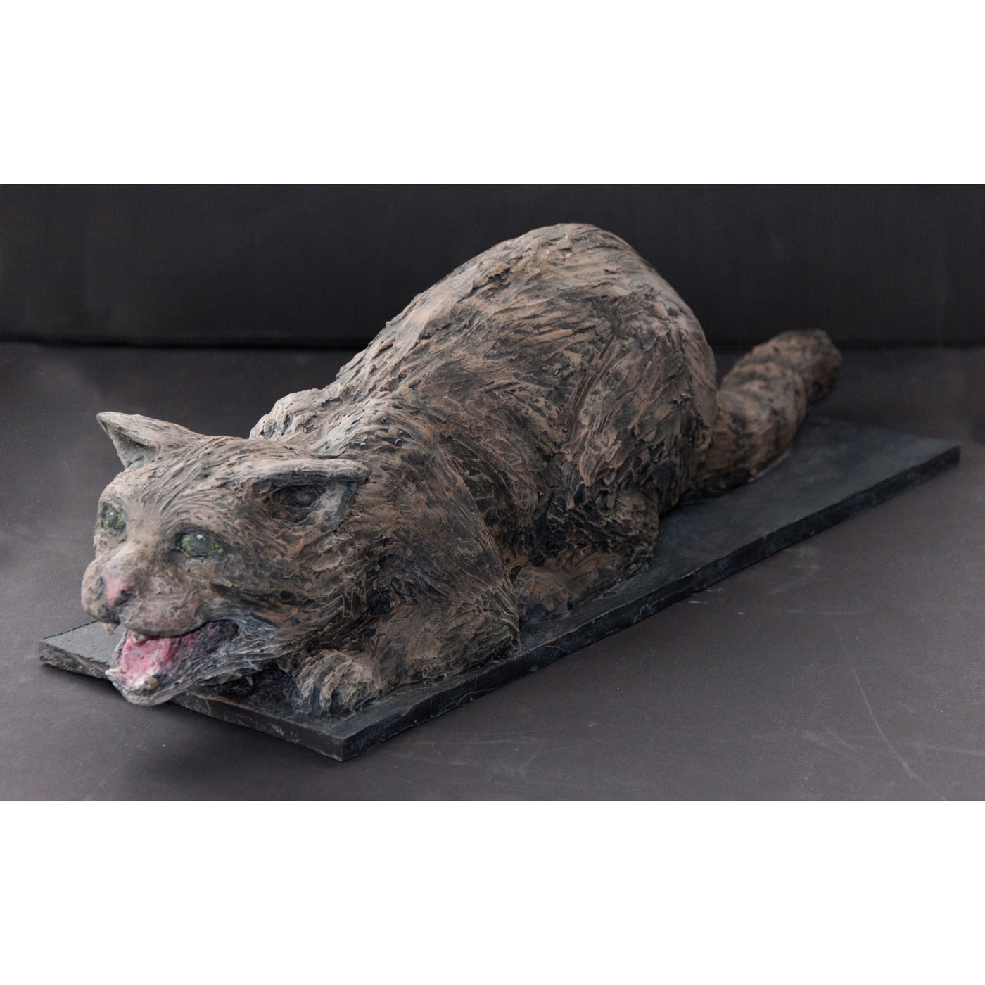 EUROPEAN WILDCAT,  © 2014, acrylic cast, molded in wax, 55 x 20 x 15 cm