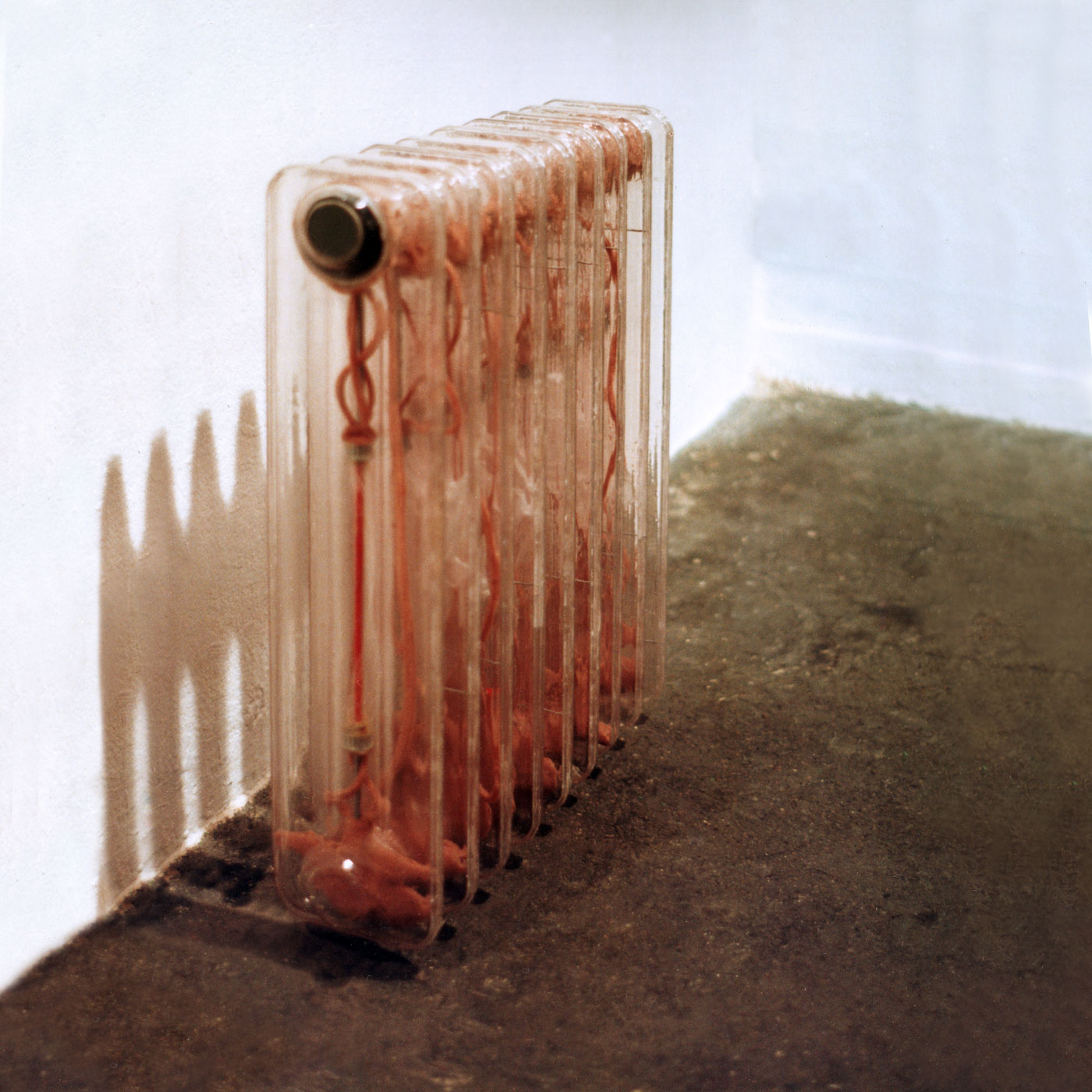 FREEZING RADIATOR, © 1997, acrylic perspex, aluminium, foam, speakers, 70 x 50 x 12 cm