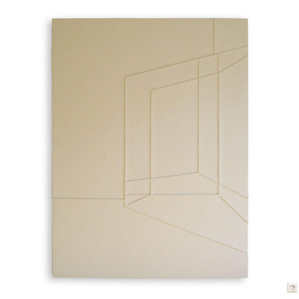 2D-3D I, © 2003, hardboard, acrylic filler, acrylic paint, 200 x 140 x 5 cm