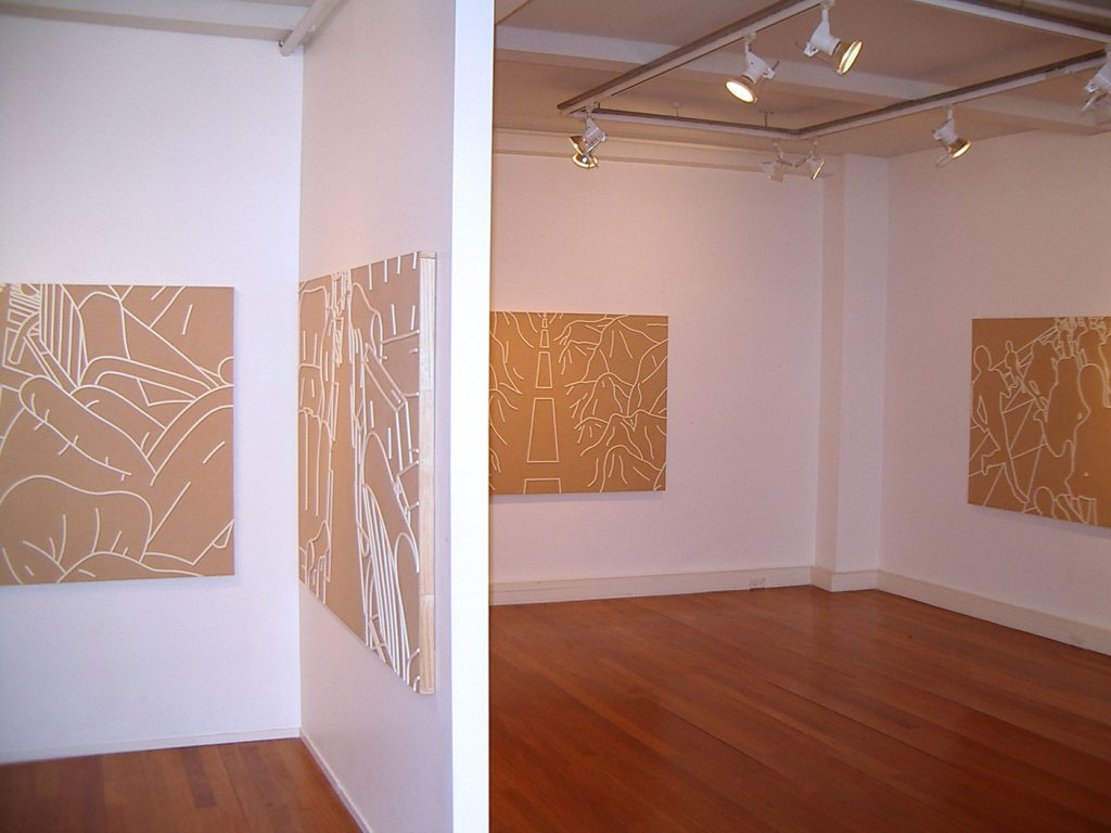 FURNITURE CITY & FORGOTTEN,  © 2003, cardboard, foam tape for windows, each 140 x 100 x 4 cm