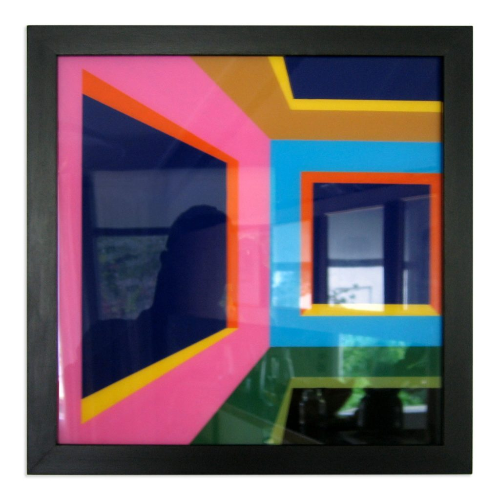 INSIDE THE CUBE BY NIGHT - LEFT,  © 2005, acrylic paint behind glass, framed, black, 30 x 30 cm