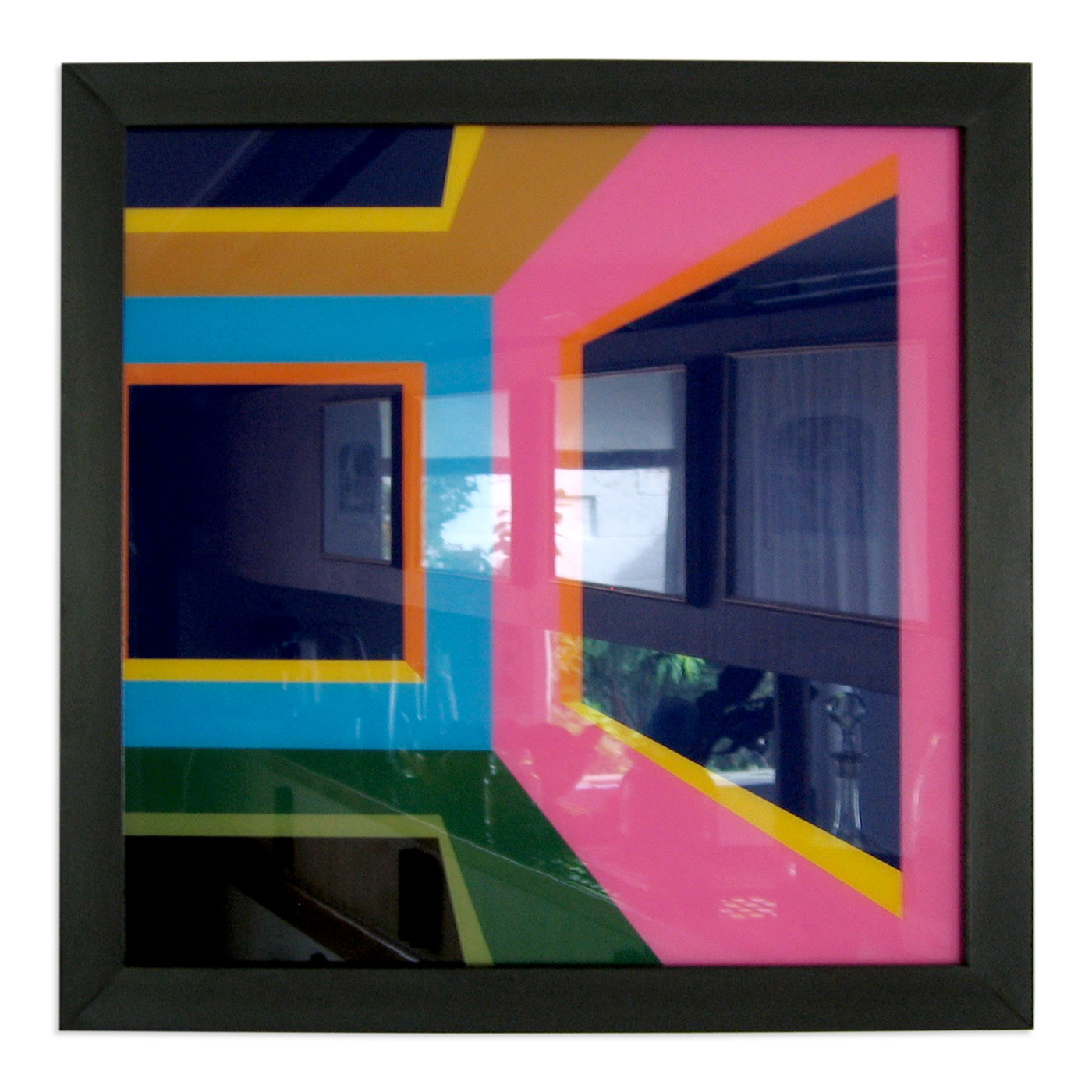 INSIDE THE CUBE BY NIGHT - RIGHT,  © 2005, acrylic paint behind glass, framed, black, 30 x 30 cm