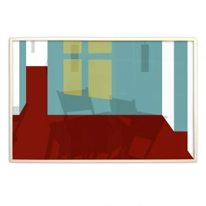 ROOM WITHOUT WINDOWS & FURNITURE IV,  © 2006, acrylic paint behind glass, 120 x 80 cm