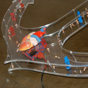 FAITH, LOVE, HOPE, © 2007, acrylic perspex, plastic figures, plastic, iron wire, mp3 player incl. speaker, 100 x 90 x 40 cm