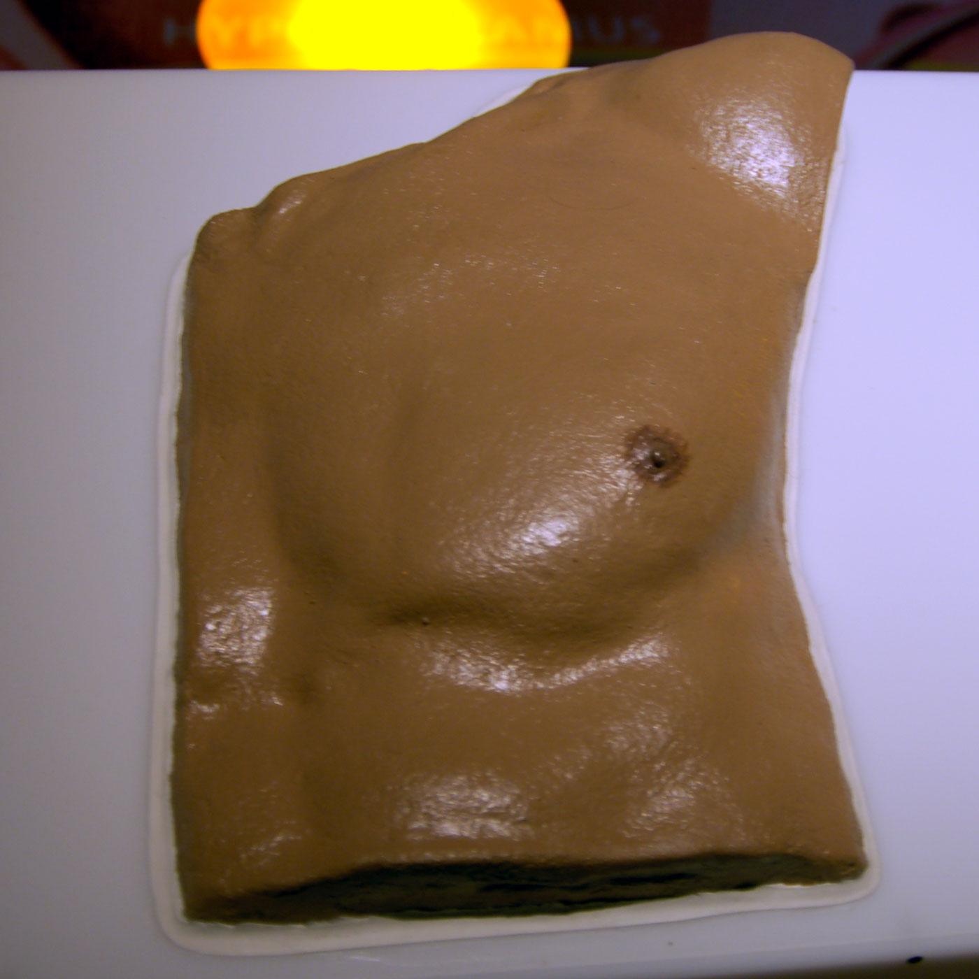 MALE BREAST, © 2008, polyurethane, acrylic paint, 1 : 1
