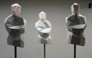 3 TORSI, © 2009, styrofoam, dispersion surface, paint, steel, video projection, each 100 x 50 x 50 cm