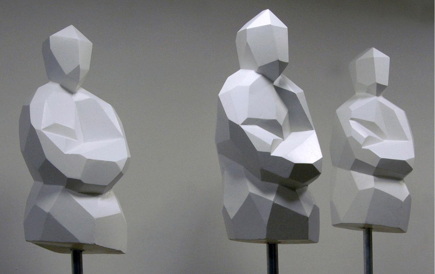 3 TORSI, © 2009, styrofoam, dispersion surface, paint, steel, each 100 x 50 x 50 cm