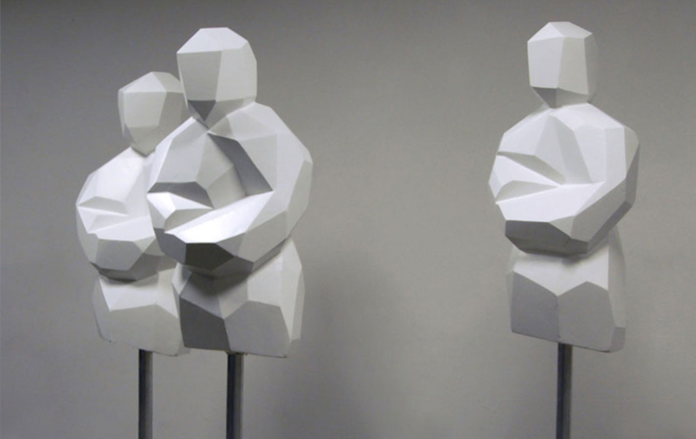 3 TORSI, © 2009, styrofoam, dispersion surface, paint, steel, each 100 x 50 x 50 cm