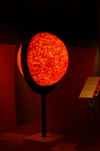 SUN - LIGHT SCULPTURE, © 2011, acrylic glass sphere, coloured epoxy resin, LEDs, steel, 140 x 100 x 220 cm
