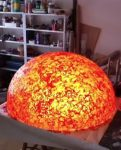 SUN - LIGHT SCULPTURE, © 2011, half acrylic glass sphere, coloured epoxy resin, 100 x 100 x 50 cm