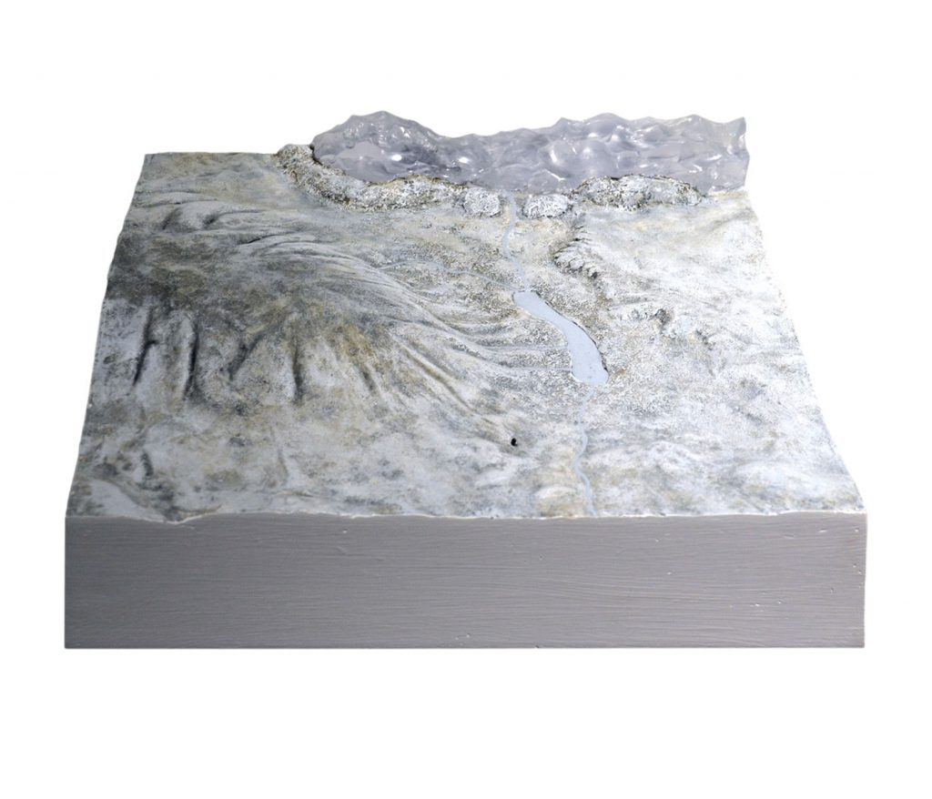 PALEON TOPOGRAPHY I,  © 2012, acrylic and polyester resin cast, acrylic paint, molded in clay, approx. 40 x 30 x 10 cm