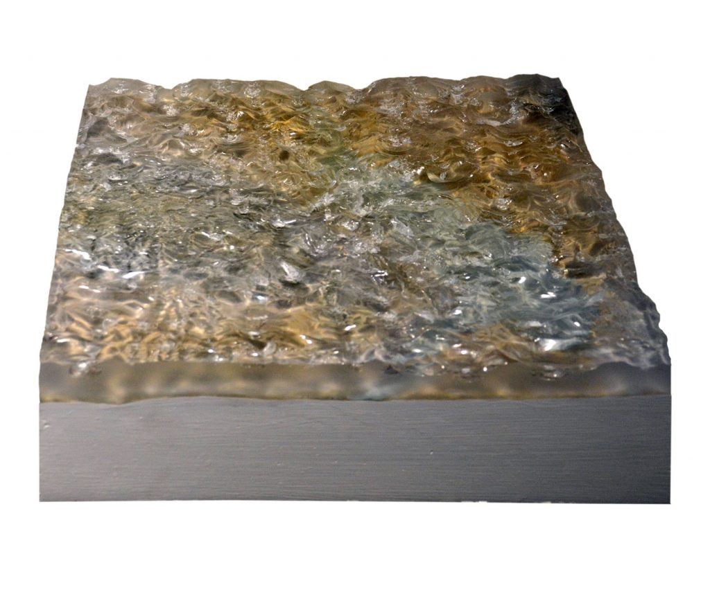 PALEON TOPOGRAPHY IV,  © 2012, acrylic and polyester resin cast, acrylic paint, molded in clay, approx. 40 x 30 x 10 cm