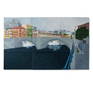 BILBAO BRIDGE SHEEP MOBILÉ,  © 2014, oil on canvas, 300 x 180 cm