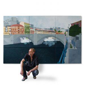 BILBAO BRIDGE SHEEP MOBILÉ,  © 2014, oil on canvas, 300 x 180 cm