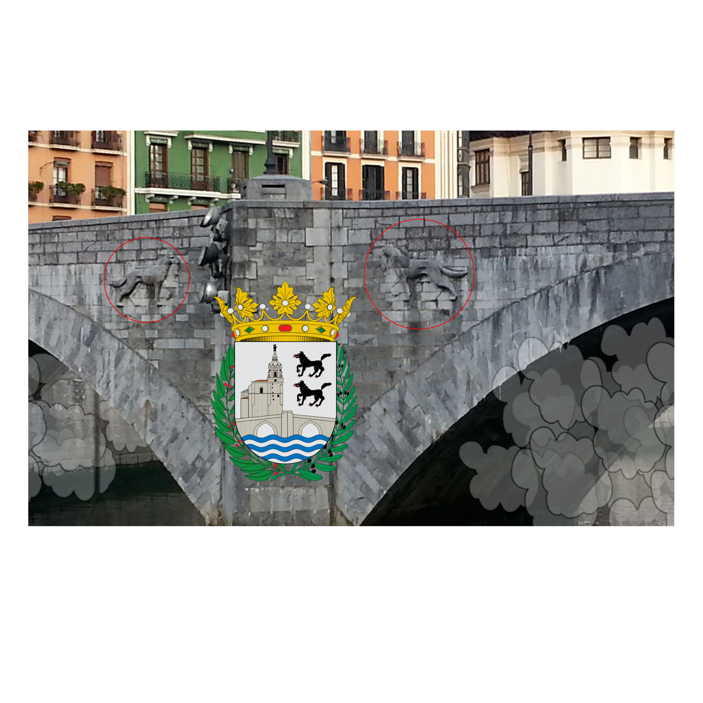 BILBAO BRIDGE, old town, heraldry, sheep mobilé, © 2014