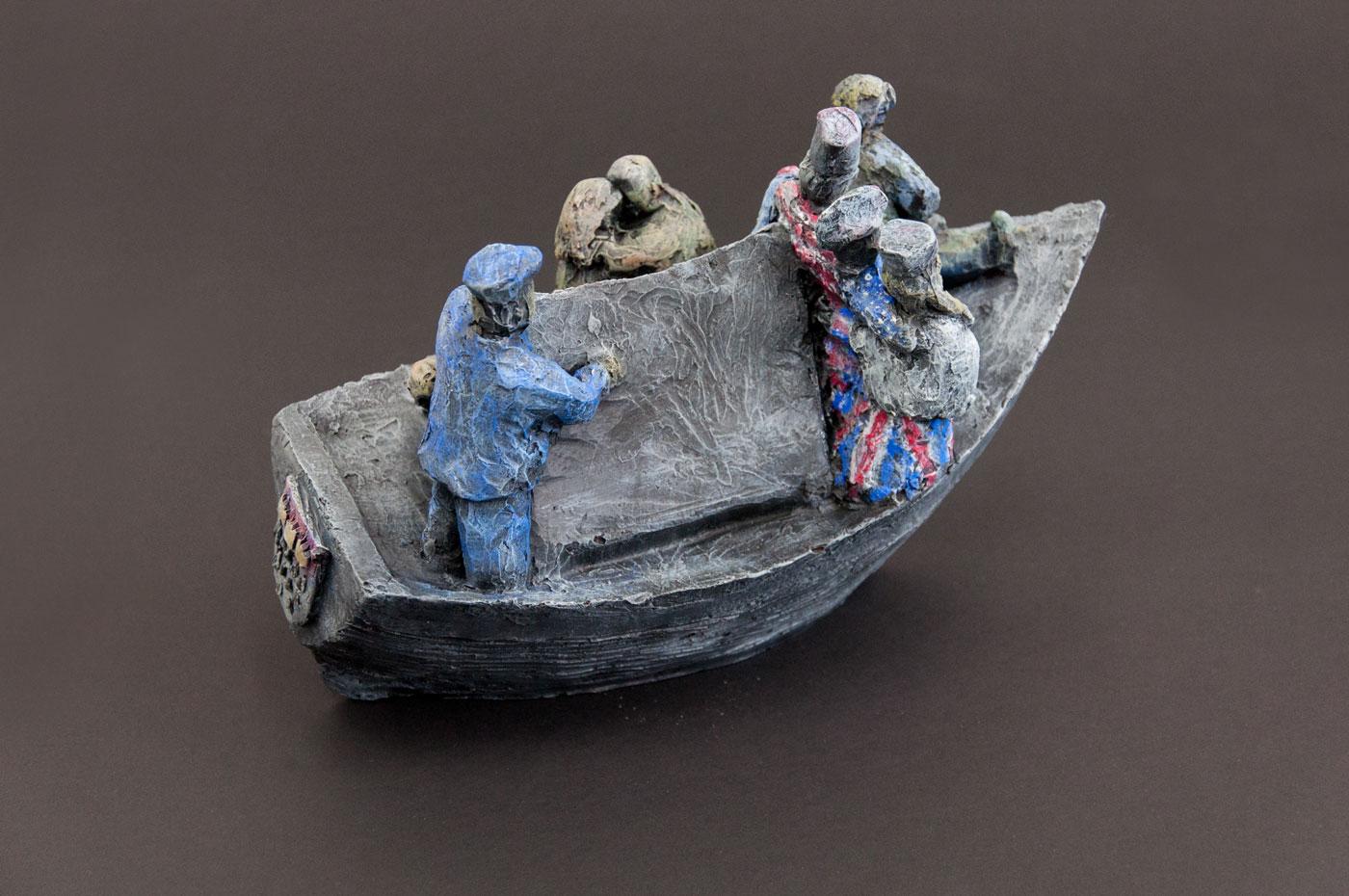 TRIZONESIEN SHIP, © 2015, acrylic cast, acrylic paint, 25 x 18 x 12 cm