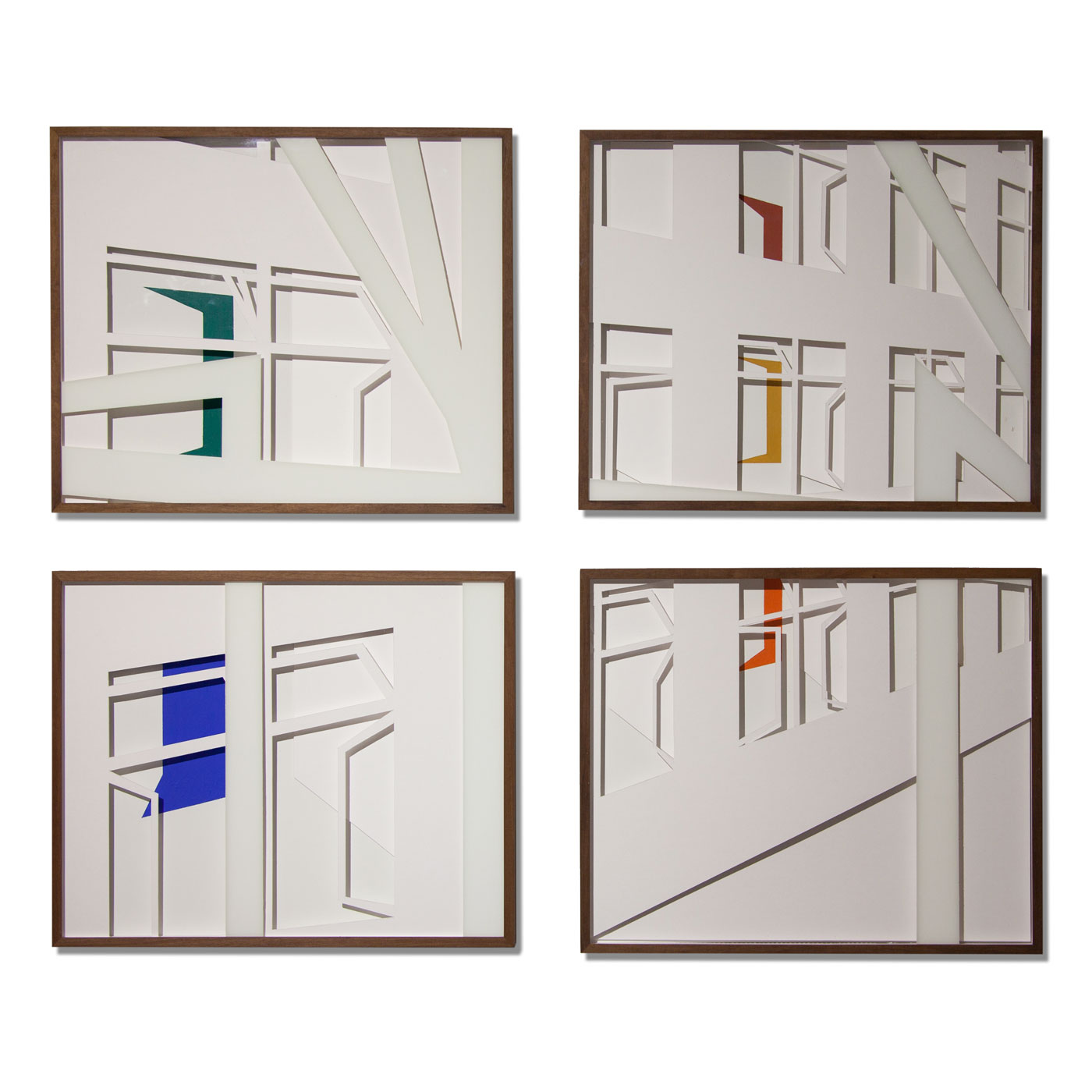 VASISTATS I-IV, © 2015, cardboard and acrylic paint behind glass, each 64 x 53 x 4.5 cm