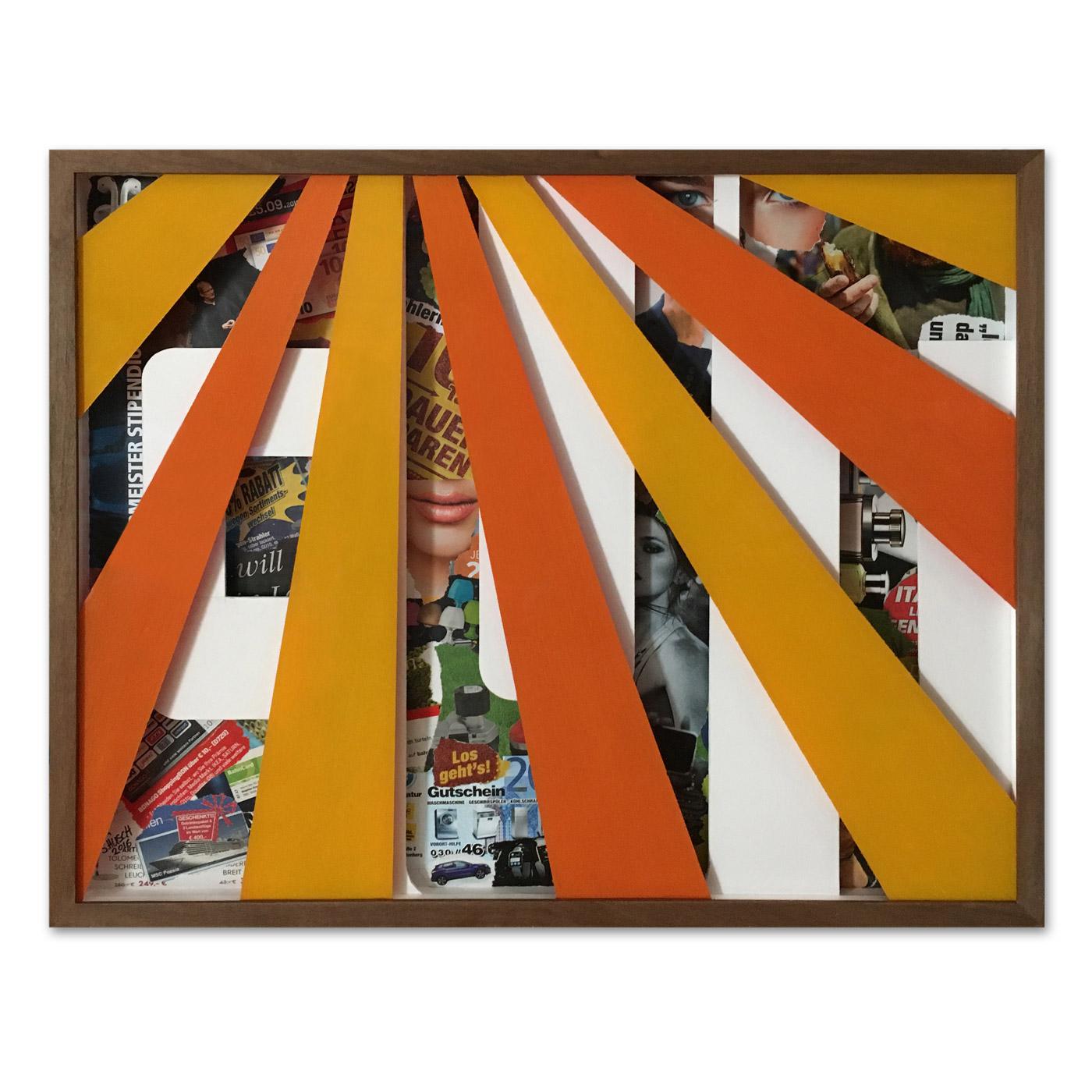 GUTSCHEIN (VOUCHER),  © 2016, cardboard, collage, acrylic paint behind glass, 53 x 43,5 x 4,5 cm