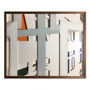 VASISTAS - BACKYARD I,  © 2016, cardboard, acrylic paint behind glass, 53 x 43,5 x 4,5 cm