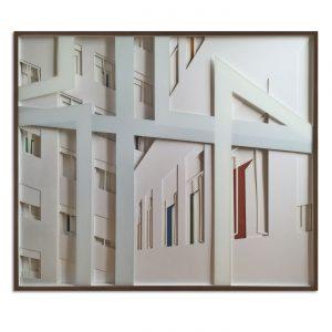 VASISTAS - SUMMER IN SALAMANCA?  © 2016, cardboard, acrylic paint behind glass, 110 x 94 x 4,5 cm