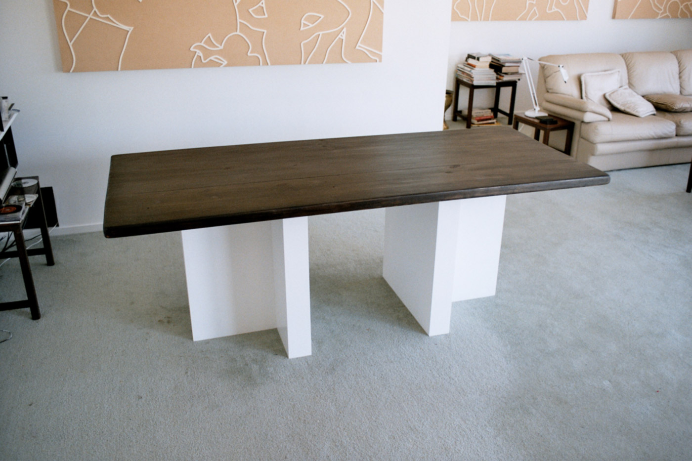 TABLE @ 2003, burned pine wood, plywood, 200 x 100 x 75 cm