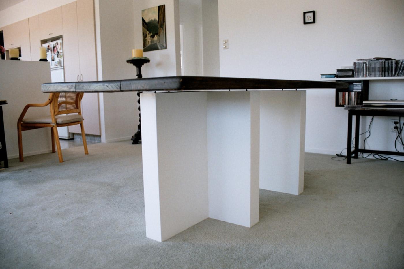 TABLE @ 2003, burned pine wood, plywood, 200 x 100 x 75 cm