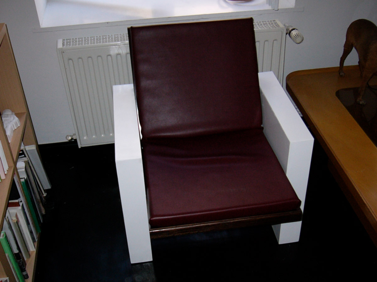 ARMCHAIRS @ 2004, plywood, foam, imitation leather, each 70 x 70 x 70 cm