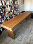 DESKTOP @ 2018, solid American cherry, made of one big tree, handles of oiled leather straps, 300 x 65 x 79 cm
